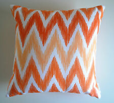 """Aishah"" Orange & White Decorative Cushion Cover Zig Zag Chevron IKAT Moroccan"