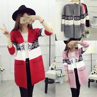 Fashion Korean Womens Ladies Knitted Sweater Long Cardigan Outwear Coat Jacket