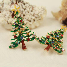 Enamel Christmas Tree Brooch Pin Delicate Rhinestone Crystal Holiday Party Gift