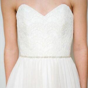 Handmade Thin Crystal Beaded Rhinestone Bridal Wedding Belt and Sashes for Dress