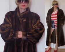 OLYMPIA LIMITED INC LONG BROWN FAUX FUR FAUX MINK COAT BATWING SLEEVES L