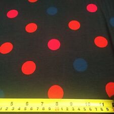 Navy Blue Polka Dot Cotton Stretch Jersey Material 150cm Wide Fabric