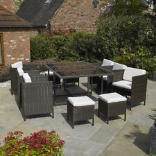 Wido PREMIUM 11 PC BROWN RATTAN CUBE TABLE CHAIR GARDEN PATIO OUTDOOR FURNITURE