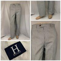 Hilfiger Pants 32x32 Blue White Stripe Cotton Linen Made Italy EUC YGI T9-58