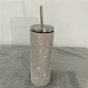 20oz Bling Diamond Thermos Bottle Coffee Cup with Straw Stainless-Steel Water Bo
