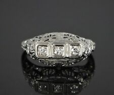 Vintage 18K White Gold Old Mine Cut Diamond Art Deco Filigree Cocktail Ring 7.25