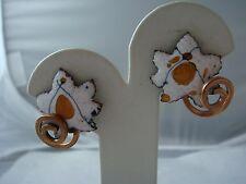 VINTAGE SIGNED RENOIR WHITE GOLD FOIL ENAMEL IVY LEAF SWIRL COPPER EARRINGS