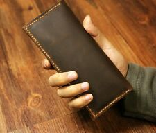 Mens Women Distressed Leather long wallet slim vertical clutch bifold wallet