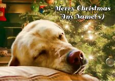 Personalised Yellow Labrador Christmas Card  + Illustrated insert    A5 size