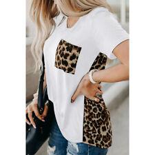 Women Summer Crew Neck Short Sleeve T Shirt Leopard Splice Blouse Casual Top Tee