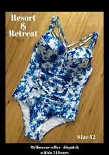 Ladies One Piece Swimwear, Size 12D, Blue White, Tie Dyed Design, Underwire,