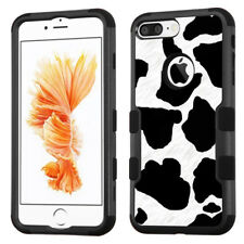 For Apple iPhone 8 PLUS Phone Case (3-Layer Blk/Blk) - Cow Skin Print