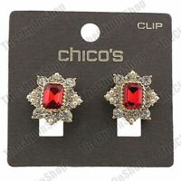 CLIP ON/STUDS antique style RED RHINESTONE ornate EARRINGS gold fashion crystal