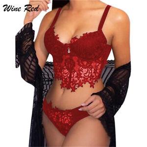 Women Lace Sexy Lingerie Bra Set Push Up Babydoll G-String Nightwear Underwear