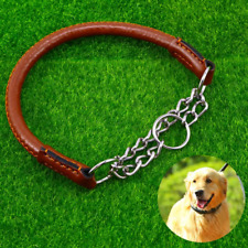 Leather Choke Dog Collar Stainless Steel Chain Martingale Pet Collar XL Bull Dog