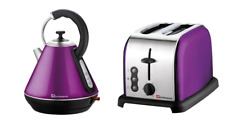 1.8L Cordless Electric Swivel Kettle 2 Two Slice Wide Slot Toaster Set Purple