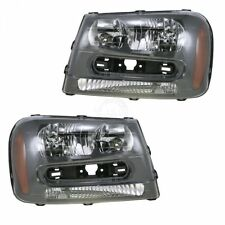 Headlights Headlamps Left & Right Pair Set for 02-09 Chevy Trailblazer