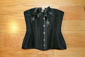 "Morgana Femme Couture black steel bone underbust corset 21.5"" made in UK"