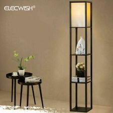 3-Ebene Standleuchte Stehlampe Bodenlampe Stehleuchte Holz Regal Schwarz E27 DE