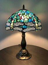 Tiffany Style Table Lamp Blue Green Stained Glass Dragonfly Antique Vintage H18""