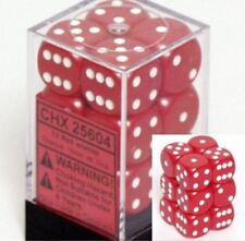 Chessex Dice d6 Sets:Opaque Red with White-16mm Six Sided Die 12 B.. CHX 25604