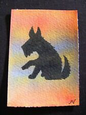 """ACEO Original Acrylic Paint & Pen Painting """"Year of the Dog #3"""" by NuoVo"""