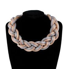 Beautiful Vogue Weaved Twisted Gold Toned Braided Style Fashion Necklace Jewelry