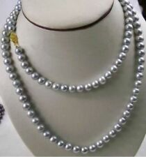 "Beautiful 48"" 9-10MM NATURAL SOUTH SEA GENUINE GRAY PEARLs NECKLACE 14K Gold"