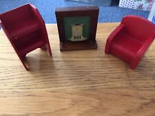 Dolls House Furniture Fireplace Bookcase And Armchair Vintage