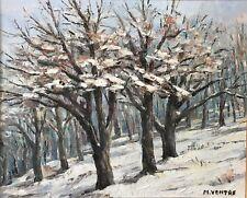 Forêt de Provence en hiver signée Michèle 1989 acrylique sur toile