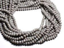 Fil 39cm 90pc env - Perles Verre opaque - Rondelles Facettées 6x4.5mm Gris clair