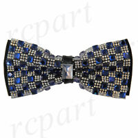 New in box Brand Q Men's Crystals Pre-tied Bow Tie royal blue Checker Formal