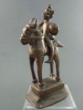 INDIAN BRONZE FIGURE OF GOD AIYANAR WARRIOR ON HORSEBACK