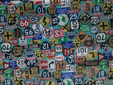 Retro Route 66 Signs Historical Vibrant Colors Blue Cotton Fabric Bthy