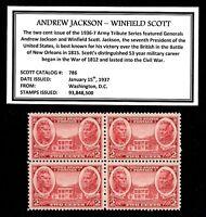 1937 - JACKSON -  SCOTT - Mint -MNH- Block of 4 Vintage Postage Stamps