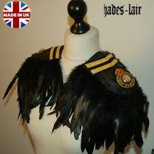 JET BLACK FEATHER COLLAR /& EPAULETTES LONG VELVET FRINGE SEQUINS GOTH TOP PARTY