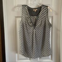 Skies are Blue Women's Black/White V Neck Sleeveless Top Medium