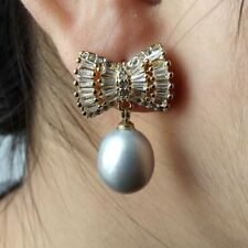 M011415 Gray Rice Pearl Bow CZ Earrings