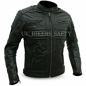 Genuine Motorbike Motorcycle Black Cowhide Leather Jacket Bike Riding CE Armour