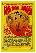 1960's Rock: Jimi Hendrix & Led Zeppelin at Folk-Rock Festival Poster 13x19