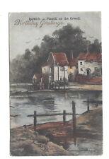 Vintage postcard Ipswich - Pinmill on the Orwell 'Birthday Greetings'. pmk 1907