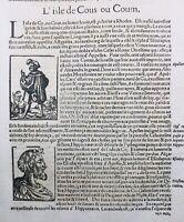 Ile  de Kos en 1557 Vin de Grèce Hippocrate Scythe Rare Gravure sur Bois Munster