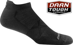 Darn Tough 1767 Mens Run Running Socks No-Show Tab Black Large UK 9.5-11.5