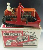 MARX 1950's CLIMBING BULLDOZER TRACTOR STURDY CONSTRUCTION TIN MIB WINDUP TOY