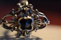 Damen Trachtenring mit einen Granat 835 Silber gr.18 mm