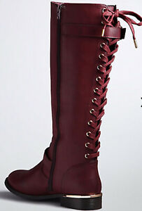 Torrid Burgundy Lace Up Back Faux Leather Boot With Gold Hardware Size 12w 12 W