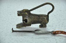 1930's Old Brass Handcrafted Lion Shape Strip System Padlock , Rich Patina