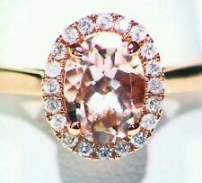 1.24CT 14K Rose Gold Natural Morganite White Cut Diamond Engagement Vintage Ring