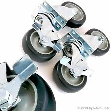"""Set of 4 Swivel Plate Casters with 4"""" Polyurethane Wheels Over 1100lbs Capacity"""