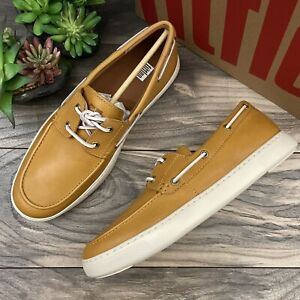 NIB FitFlop Lawrence Leather Boat Shoes Casual Loafer Mustard Yellow Mens 10M